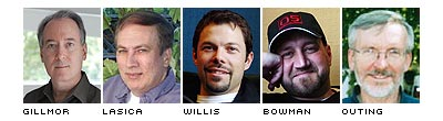 Gillmor, Lasica, Willis, Bowman, Outing photos